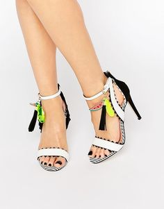 Miss KG Fanfare Black & White Fruit Charm Heeled Sandals