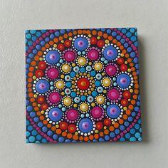 Items similar to Hand Painted Ceramic Painting Mandala Art Dotillism Purple Orange Folk Art Small Gift For Her on Etsy Pottery Painting, Dot Painting, Ceramic Painting, Stone Painting, Acrylic Paintings, Mandala Rocks, Mandala Art, Pattern Art, Art Patterns