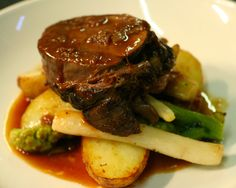 Slow roast, succulent beef shin, parsley root, salsify and white broccoli