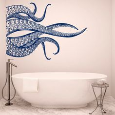 Octopus Tentacles Wall Decals For Bathroom Sea Animals Kraken Octopus... ($18) ❤ liked on Polyvore featuring home, home decor, wall art, octopus wall art, navy decals, animal wall stickers, ocean wall art and sea wall decals