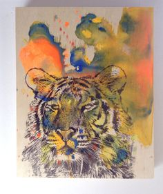 Portrait of a Tiger Art Original Animal Painting 11 x by idillard, $95.00