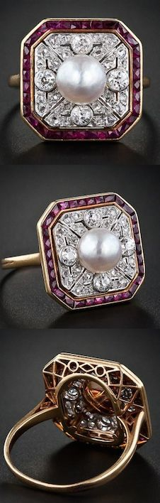 *Edwardian Ruby, Diamond and Natural Pearl Ring, A sophisticated Edwardian ring in platinum over 18K yellow gold. This lovely ring features a central round white 6.9 millimeter natural pearl framed by an octagonal pierced platinum plaque set with four sparkling European-cut and thirty-two rose-cut diamonds accented with a calibre-cut ruby border. A superb and stunning Edwardian jewel, circa 1900.