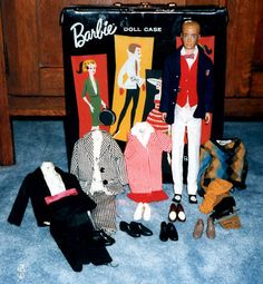 Blonde Painted Hair Ken with Clothing and Barbie Case, 1960's
