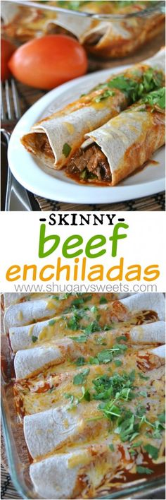 Skinny Slow Cooker Beef Enchiladas: a delicious dinner that makes a bonus meal: French Dip Sammies #slowcooker #enchiladas
