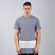Panel Up Longline T-shirt - Navy Stripe / White  // Click the link to buy or for more info - https://www.king-apparel.com/new-collection/t-shirts/panel-up-longline-t-shirt-navy-stripe-white.html