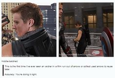THIS is one of the thousands of reasons I love the Avengers. THANK YOU for being real with us, Hawkeye.
