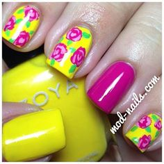 Summer Pinks and Yellows! #floral #nails