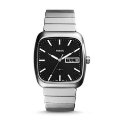 Rutherford Three-Hand Day-Date Stainless Steel Watch - Fossil Malaysia