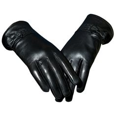Black Pretty Ladies Bow Short Winter Warm Leather Gloves (3,090 INR) ❤ liked on Polyvore