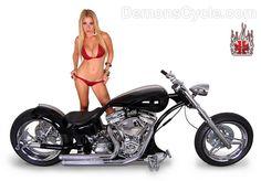 Euro style Demon's Cycle custom softail pro-street Harley motorcycle with hot spanish blond model Valeria M.Orsini in sexy red bikini.