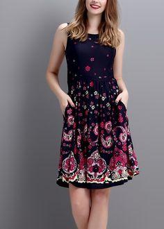 Navy Paisley Sleeveless Fit & Flare Dress