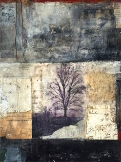 Bridgette Guerzon Mills, The Longest Journey, encaustic mixed media, 16x12 inches
