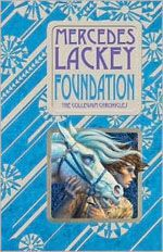 7 - IL - Foundation is the first book in the Collegium Chronicles series/ Valdemar. In this chronicle of the early history of Valdemar, a thirteen-year­old orphan named Magpie escapes a life of slavery in the gem mines when he is chosen by one of the magical companion horses of Valdemar to be trained as a herald. Thrust into the center of a legend in the making, Magpie discovers talents he never knew he had-and witnesses the founding of the great Heralds' Collegium.