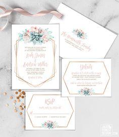 Succulent Wedding Invitation Set / Blush Flower Succulent