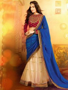 Blue And Off White Georgette Saree With Sequins And Pearl Work