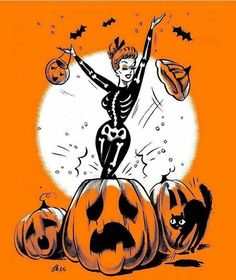 Welcome to Halloween town! — Let's celebrate bitches witches🎃💀🧙🏼♀️ Halloween Cartoons, Retro Halloween, Halloween Pin Up, Halloween Horror, Halloween 2020, Holidays Halloween, Halloween Decorations, Vintage Halloween Cards, Halloween Drawings