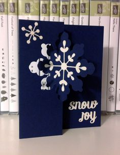 2014  Snowflake Card Thinlits Die and  Night of Navy card stock makes the perfect backdrop for the Dazzling Diamonds Glimmer Paper