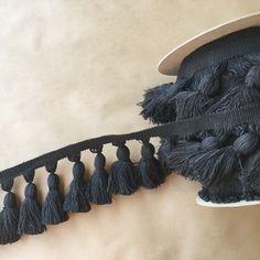 5in Chunky Tassel Fringe-Black, Fringe Market, Fringe Market Trims, Tassel Fringe, Passementerie, Trimmings, Natural Cotton, Natural Cotton Tassels, Tassels,