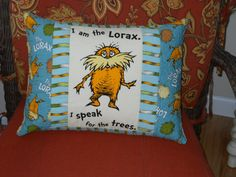 Quilted Dr Seuss Pillow   The Lorax EarthOrganic by BattyQuilter, $22.00