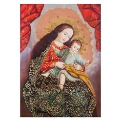 NOVICA Peruvian Colonial Replica of Virgin Mar with Little Jesus ($517) ❤ liked on Polyvore featuring home, home decor, colonial replica, paintings, spanish home decor, novica, inspirational home decor and novica home decor