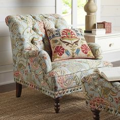 Our overstuffed Chas Tapestry Armchair looks and feels like it came straight from an English manor. Carved hardwood legs, button-tufted upholstery, nailhead trim and handsome tapestry accents make it a classic—all without squandering the inheritance. Blue Armchair, Patterned Armchair, Modern Armchair, Floral Chair, Floral Furniture, Luxury Furniture, Diy Home, Home Decor, Overstuffed Chairs