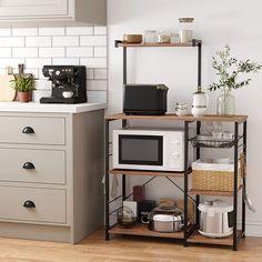 Microwave Stand, Microwave Storage, Kitchen Appliance Storage, Microwave In Kitchen, Small Kitchen Appliances, Kitchen Shelves, Small Kitchen Storage, Microwave Table, Hidden Microwave