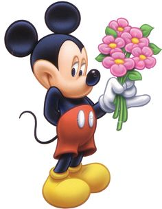 Mickey with a bouquet
