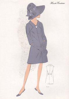 Original French 1960s fashion illustration by PrintCabinet on Etsy