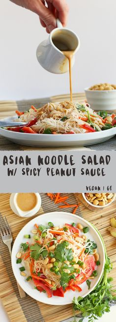 A refreshing Asian Noodle Salad made with vermicelli noodles, fresh vegetables, and homemade spicy peanut sauce for a delicious vegan and gluten-free summer salad.