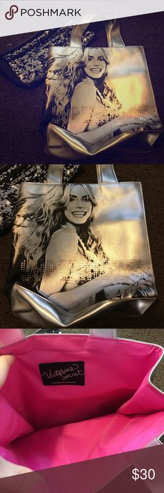 2 Victoria's Secret Bags One silver metallic small tote and one silver and black sequined makeup Pouch.  Super cute!  Both new and never used.  Small bending signs of wear on metallic Tote as pictured. Victoria's Secret Bags Cosmetic Bags & Cases