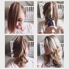 You just put your hair in a pony tail at the front of your head (where bangs would be). Then curl in 1 inch sections straight down (if you have layers like me you may need to go back over some of the shorter pieces). Then run your fingers through, take the holder out, AND YOUR DONE!!!