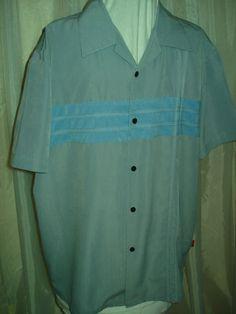 50's Style Mens Gray & Blue Topstitch Woody's Retro Lounge Shirt Rockabilly L for sale at irishcherrydoll.com