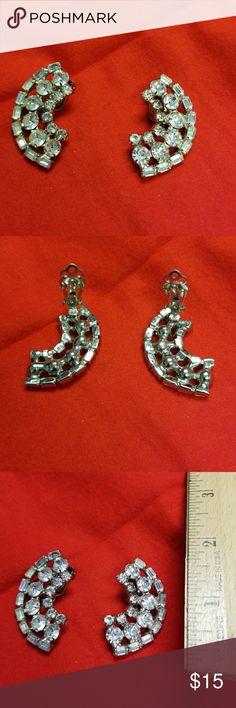 """Vintage Silver Rhinestone Earrings,  clip on Vintage Silver Rhinestone Earrings,  clip on, sparkles to adorn your ears! 1-3/4"""" long. Jewelry Earrings"""