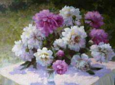 artist Nikolaev Jury, Peonies in my garden