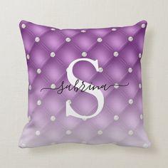 Luxury Purple Tufted Faux Diamond Ombre Monogram Throw Pillow | Zazzle.com (sponsored) Purple Throw Pillows, Decorative Throw Pillows, Violet Background, Ombre Effect, Monogram Initials, Shades Of Purple, Free Sewing, Custom Pillows, Home Decor Inspiration