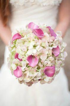 Hydrangea and calla lily bouquet