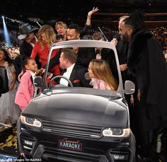 Blue Ivy's big night out! Beyonce's girl rushes to join JLo for A-list Carpool Karaoke after cheering on mom from Jay Z's lap at the Grammys