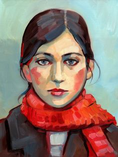 Girl with Red Scarf - Archival Print of Original Oil