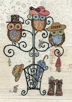 Owl Hatstand - Bug Art greeting card