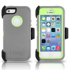 I need a new case: OtterBox iPhone 5S 5 Defender Case & Holster Gray Neon Green Cover OEM Genuine