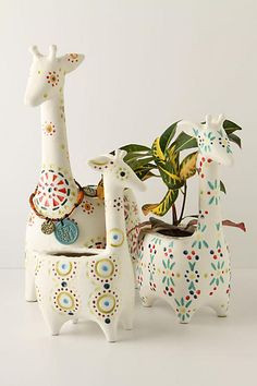 Giraffe Stack Pots, Rainbow - anthropologie.com