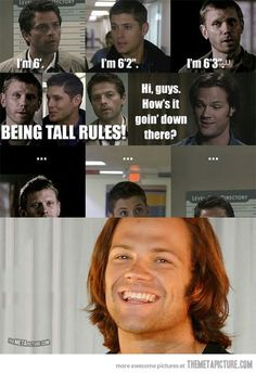 "jensens actually 6' 1"" but whatever supernatural funnies"