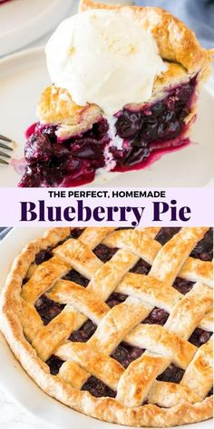 Blueberry Pie Learn how to make classic, homemade blueberry pie. The filling is sweet, juicy, and full of plump blueberries. Make it when fresh blueberries are in season for the perfect summertime pie! Blueberry Crumble Pie, Homemade Blueberry Pie, Blueberry Pie Recipes, Pie Crumble, Blueberry Desserts, Blueberry Pie Recipe With Frozen Berries, Fresh Blueberry Pie, Recipes With Blueberries, Best Blueberry Pie Filling Recipe