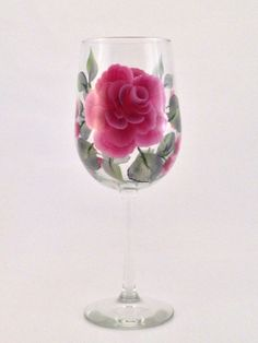 Rose HandPainted Wine Glass by Wineflowers on Etsy, $19.95