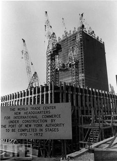 Building the Twin Towers, 1971 | New York City ~ Construction on Tower 1 began in August, 1968 and January, 1969 on Tower 2. Both were opened on April 4, 1973.