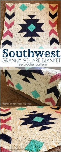 Crochet Granny Squares Patterns Southwest Granny Square Blanket - Hi there! Thank you so much for checking out my Southwest Granny Square Blanket Crochet Along! Granny Square Crochet Pattern, Afghan Crochet Patterns, Crochet Squares, Crochet Granny, Free Crochet, Knit Crochet, Crochet Afghans, Crochet Blocks, Free Knitting