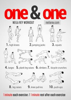 One&One Workout. This is a total body HIIT workout. It works your aerobic and cardiovascular systems and trains your arms, legs, glutes and abs.  #fitness #PinYourResolution #fit2014 #abs #workout #workoutroutine
