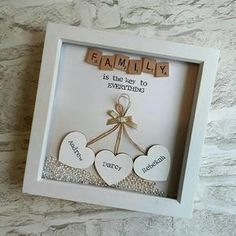 This Personalised Scrabble Frame is the Perfect Gift For Everyone and Every Occasion! Lots Of different words/ quotes can be used, extra hearts can be added ( for bigger families) at no extra cost. **ordering information** After youve added to cart there is a note to seller box where
