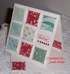 A square card, easy with the SU Postage Punch. Homemade Christmas Cards, Christmas Cards To Make, Homemade Cards, Handmade Christmas, Christmas Note, Christmas Movies, Christmas Ideas, Karten Diy, Square Card