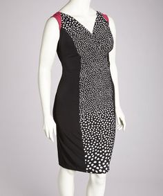 Take a look at this Black & Fuchsia Drape Neck Dress - Plus by Glamour on #zulily today!